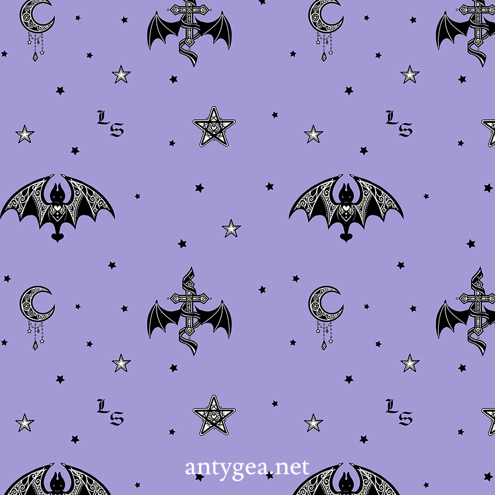 <h2>Bat Moonlight</h2><br>Fabric design for Lady Sloth's casual line, 3 colorways (purple, red, gray)