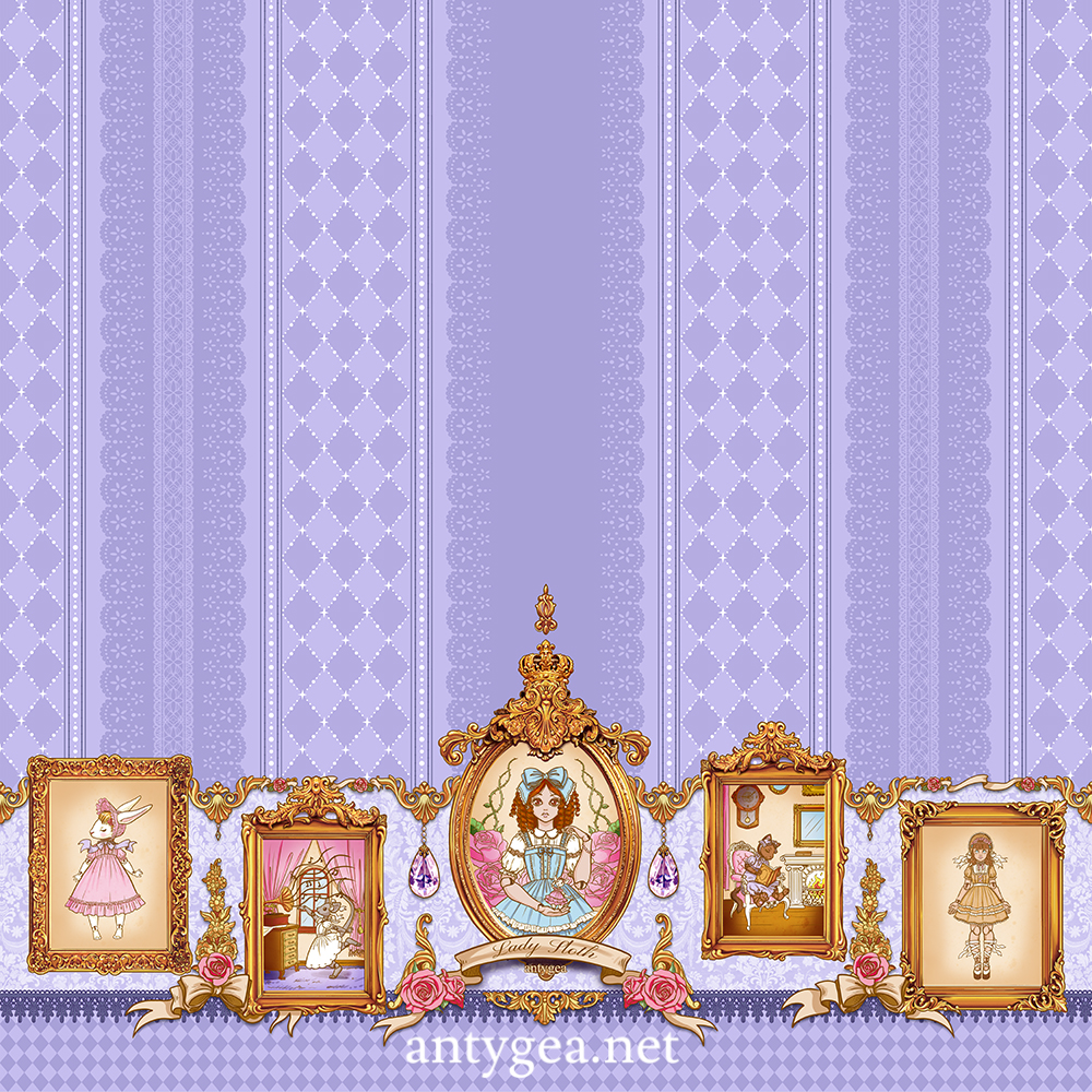 <h2>Welcome To My Dollhouse</h2><br>Fabric design for Lady Sloth's lolita line, light version, 3 colorways (lavender, pink, gray)