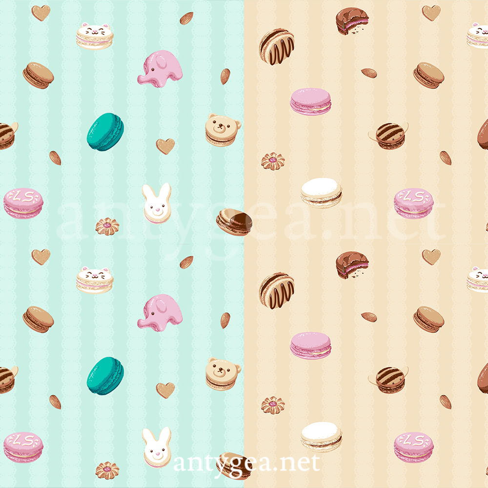 <h2>My Lovely Macarons</h2><br>Fabric design for Lady Sloth's casual line, 2 colorways