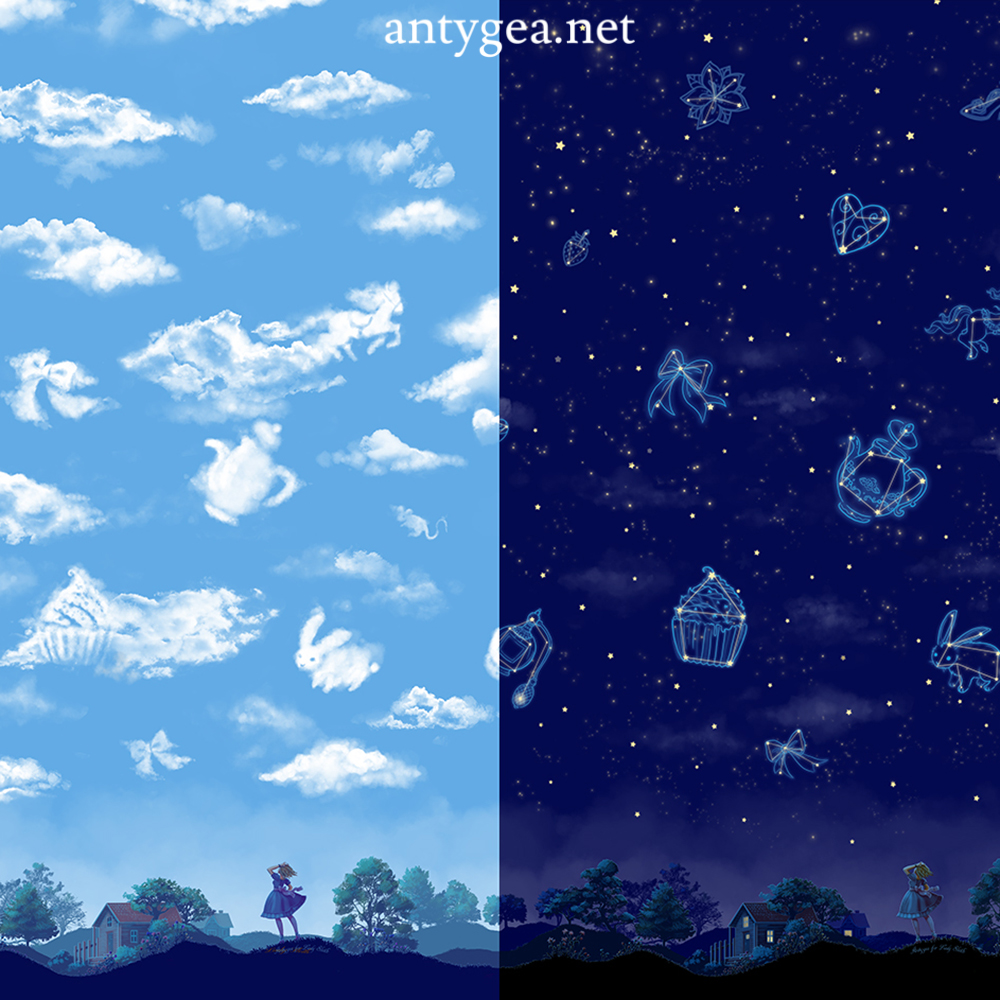<h2>Look at My Dreamy Sky</h2><br>Fabric design for Lady Sloth's lolita line, day & night colorways